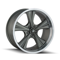 Ridler 651 Grey/Machined Lip 22X9.5 5-114.3 18mm 66.9mm