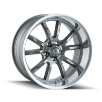 Ridler 650 Grey/Polished Lip 22X9.5 5x114.3 18mm 70.5mm
