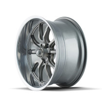 Ridler 650 Grey/Polished Lip 22X9.5 5x114.3 18mm 70.5mm - wheel side view