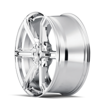 Mazzi 371 Stilts Chrome 20x8.5 5x108/5x114.3 35mm 72.6mm - wheel side view