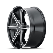Mazzi 371 Stilts Black w/ Machined Face 20x8.5 5x114.3/5x127 35mm 72.6mm - wheel side view