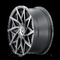 Mazzi 372 Matte Black w/ Dark Tint 20x8.5 5x108/5x114.3 35mm 72.6mm- wheel side view