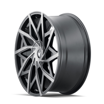 Mazzi 372 Matte Black w/ Dark Tint 20x8.5 5x108/5x114.3 35mm 72.6mm- wheel side view