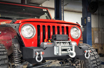 Jeep Stubby Front Winch Bumper (87-06 Wrangler TJ/YJ)- displayed on a vehicle (wench not included)