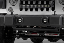 Jeep 2-IN Cree LED Fog Light Kit (Black Series | 10-18 Wrangler JK) - mounted view