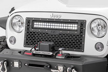 Jeep Mesh Grill w/20IN LED Light Bar (07-18 Wrangler JK) - mounted view