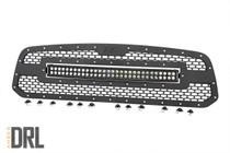 Dodge Mesh Grille w/30IN Dual Row Black Series LED (13-18 RAM 1500) - Black Series w/ Amber