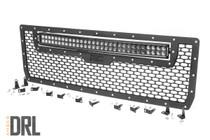 GMC Mesh Grille w/30IN Dual Row Black Series LED (14-15 Sierra 1500) - Black Series w/ Amber DRL