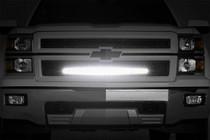 Chevy Mesh Grille w/ 30 IN Black Series LED (14-15 Silverado 1500) night time view