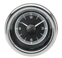 "2-1/16"" Round Universal VHX Clock - Black Alloy Background"