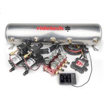 "RidePro E5 Air Ride Suspension Control System | 5 Gallon Dual Compressor - HIGH FLOW Big Red 3/8"" Valves"