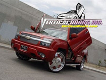 Vertical Doors 2003-2006 CHEVY AVALANCHE Bolt on Lambo Door Kit - displayed on a vehicle