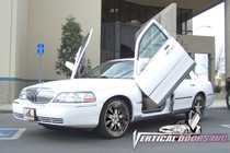 Vertical Doors 1998-2006 LINCOLN TOWN CAR Bolt on Lambo Door Kit - displayed on a vehicle