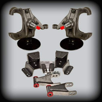 """73-87 C-10 3"""" Front Lowering Spindles, 4"""" Shackles&Hangers W/ 1"""" Rotor"""
