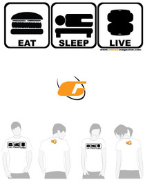 White Tee Shirt Eat, Sleep, Live