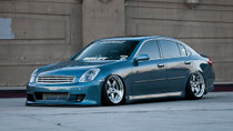 02-08 Infiniti G35 Sedan Air Lift Kit with Manual Air Management- Front/Side View