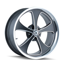 Ridler 645 Black/Machined Face/Polished Lip 18x9.5 5-120.65 0mm 83.82mm