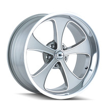 Ridler 645 Grey/Machined Face/Polished Lip 20x8.5 5-127 0mm 83.82mm