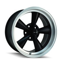 Ridler 675 Matte Black/Machined Lip 17X8 5-120.65 0mm 83.82mm