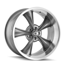 Ridler 695 Grey/Machined Lip 18x9.5, 5-127 6mm 83.82mm