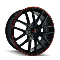 Touren 3260 Black/Red Ring 17X7.5 4-108/5-108 42mm 72.62mm