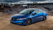 12-15 Honda Civic/13-17 Acura ILX Air Lift Kit with Manual Air Management w/ No Rear Shocks Front/Side View