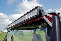 Jeep 50IN Straight LED Light Bar Upper Windshield Mounts (87-95 YJ) Mounted view (led light not included)