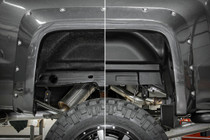Chevy Rear Wheel Well Liners (14-18 1500 PU) side by side view with & without well liner