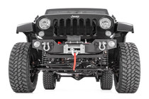 07-15 Jeep JK Wrangler Hybrid Stubby Winch Bumper w/Fog Mounts mounted view
