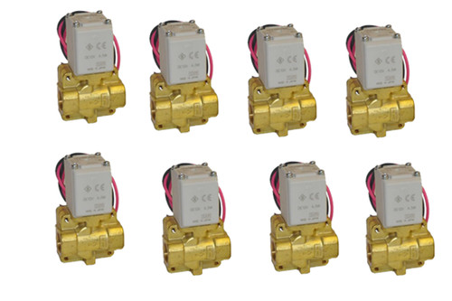 """8 pack of  1/2"""" NPT SMC pneumatic Air Valves with brackets."""