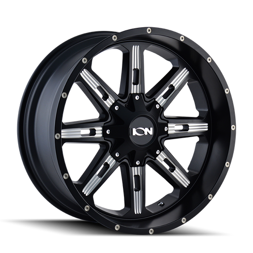 Ion 184 Satin Black/Milled Spokes 18X9 5-139.7/5-150 -12mm 110mm