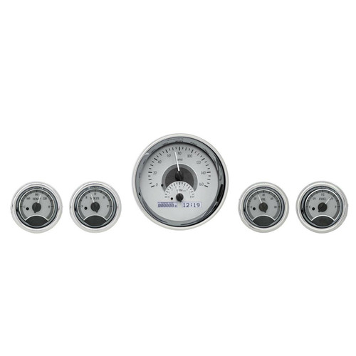 Universal Five Round Gauge VHX Analog System- Silver and White