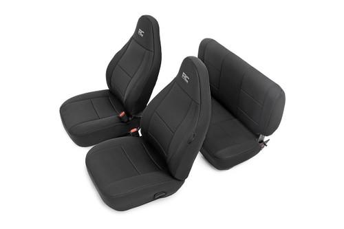 Jeep Neoprene Seat Covers Set (97-02 Wrangler TJ) Black