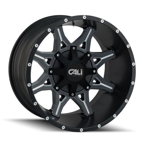 Cali Offroad Obnoxious 9107 Satin Black/Milled Spokes 20x9 5x5.00/5x5.50 0mm 87mm - front view