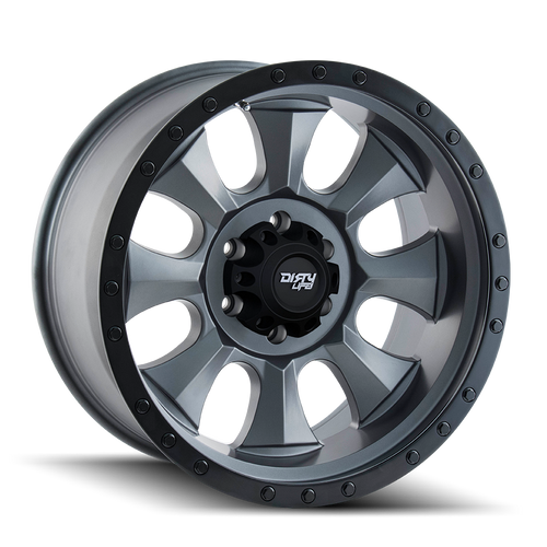 Dirty Life Ironman Matte Gunmetal w/ Matte Black Lip 18x9 8x165.1 -12mm 130.8mm
