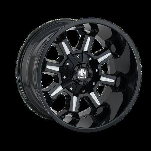 Mayhem Combat Gloss Black/Milled Spokes 17X9 5x114.3/5x127 -12mm 87mm