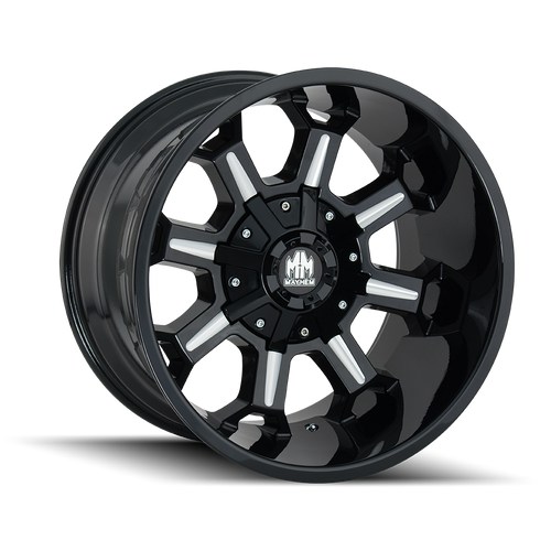 Mayhem Combat Gloss Black/Milled Spokes 20x9 8x180 18mm 124.mm