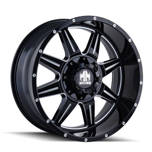 Mayhem 8100 Monstir Gloss Black/Milled Spokes 17X9 5x127/5x139.7 -12mm 87mm