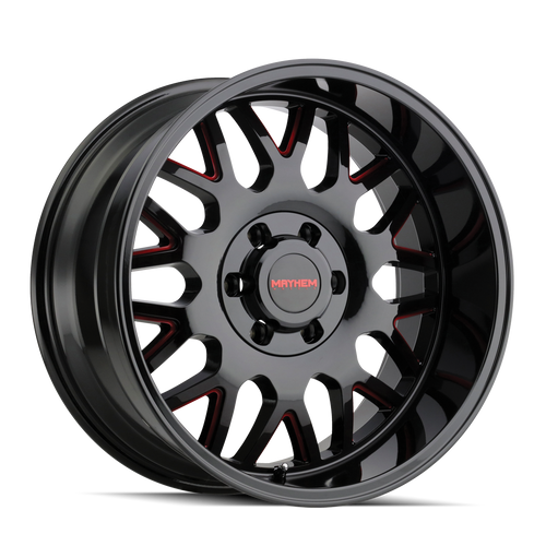 Mayhem Tripwire Black w/ Prism Red 20x9 8x165.1 18mm 130.8mm