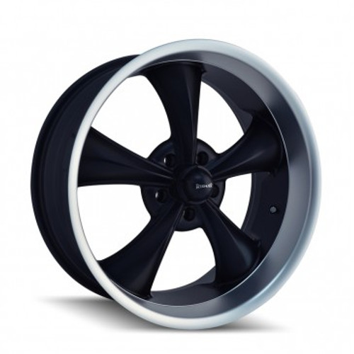 Ridler 695 Matte Black/Machined Lip 18x8 5x114.3 0mm 83.82mm