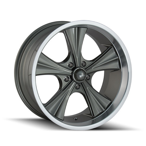 Ridler 651 Grey/Machined Lip 22X9.5 5-114.3 18mm 70.5mm
