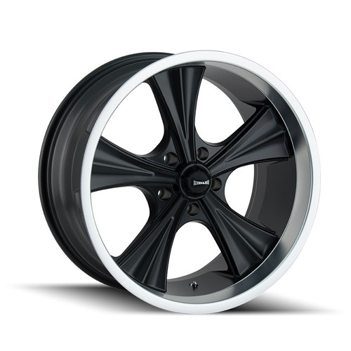 Ridler 651 Matte Black/Machined Lip 22X9.5 5x114.3 18mm 70.5mm
