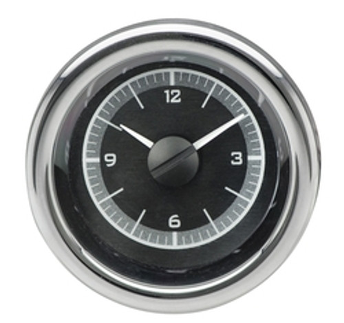 "2-1/16"" Round Universal VHX Clock - Black Alloy Background"