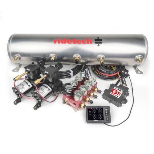 "RidePro E5 Air Ride Suspension Control System | 5 Gallon Dual Compressor - HIGH FLOW Big Red 3/8"" Valves"