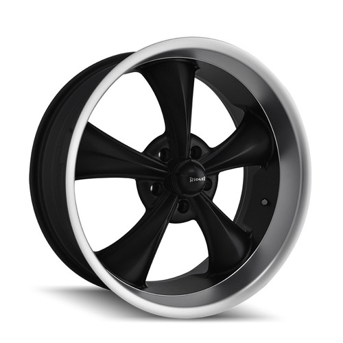 Ridler 695 Matte Black/Machined Lip 17X8 5-127 0mm 83.82mm