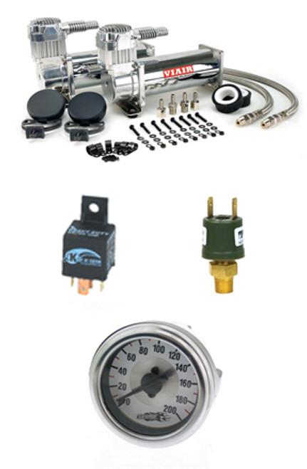 Viair 444's,Single Needle Gauge,175psi Pressure Switch, 40 Amp Relays