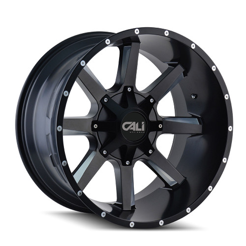 Cali Off-Road Busted Satin Black/Milled Spokes 22X12 8-180 -44mm 124.1mm