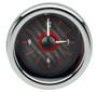 "3"" Round Universal VHX Clock Carbon Fiber Red Background"