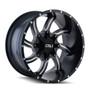 Cali Offroad Twisted Satin Black/Milled Spokes 20X9 5-127/5-139.7 0mm 87mm