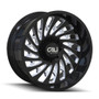 Cali Offroad Switchback 9108 Gloss Black/Milled Spokes 24x12 8x6.50 -51mm 130.8mm - front view